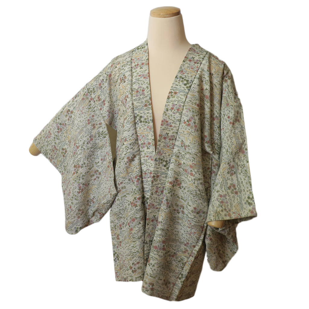 Light Green Botanical Vintage Silk Haori for Kimono (white background)