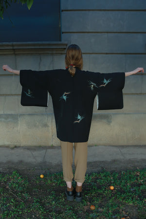 authentic black silk vintage haori kimono jacket with model
