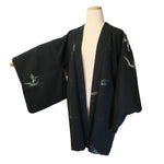 authentic black silk vintage haori kimono jacket (white background)