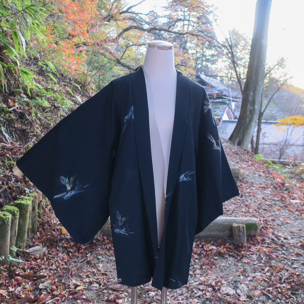 authentic black silk vintage haori kimono jacket (taken outside)