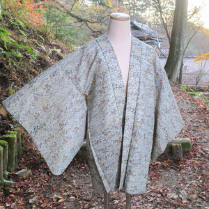 Light Green Botanical Vintage Silk Haori for Kimono