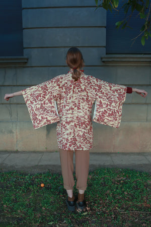 ivory & red pine forest vintage silk haori kimono jacket with model