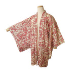 ivory & red pine forest vintage silk haori for kimono (white background)
