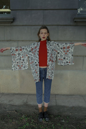 Black and Red Floral Silk Vintage Haori Jacket