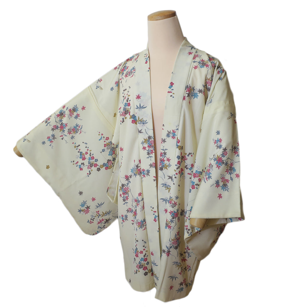 Ivory Maple and Plum vintage silk haori for kimono (white background)