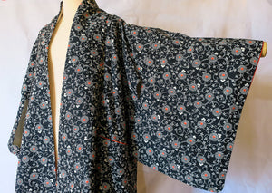 Black and White Botanical Vintage Kimono altered Robe