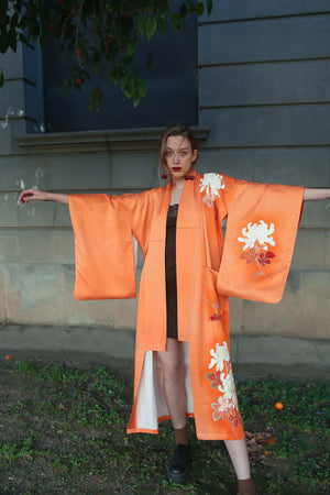 Model in Orange Kimono Robe front