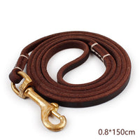 Genuine Leather Large Dog Leash Big Dogs Copper hook