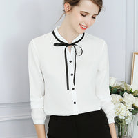 Ladies Blouse Fashion Long Sleeve Bow