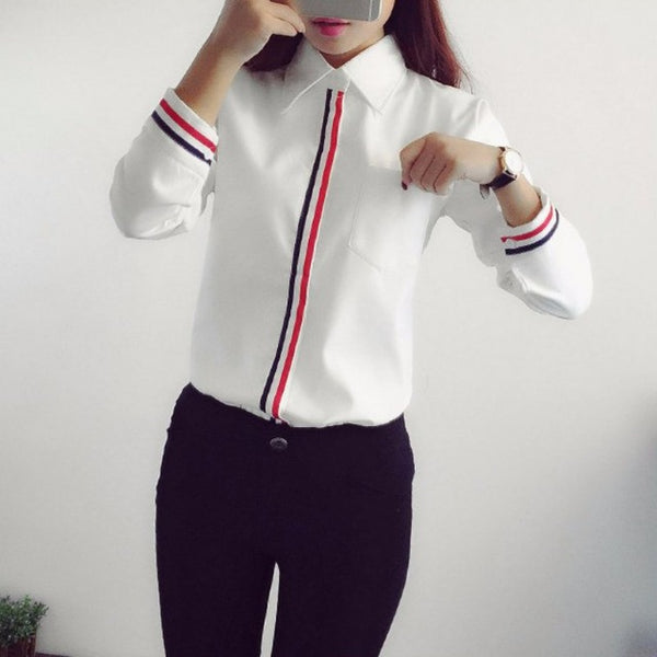 Office Lady Formal Button Down Long Sleeve