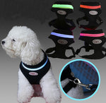 Dog LED light mesh harness Doggy Reflective  XS S M L XL