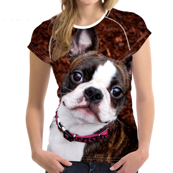 3D Animal Boston Terrier Dog Printed Women T Shirts