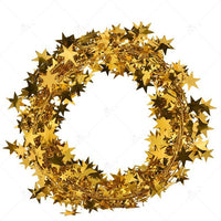 7.5M Gold Silver Stars Wire Garland Tinsel Star Rattan Colourful