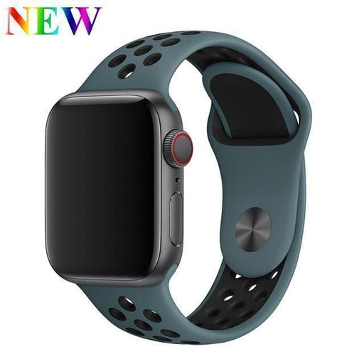 EIMO Strap for Apple Watch 4 3 iwatch band 38mm 42mm 40 44mm for Apple Watch band correa Nike Sport Silicone Bracelet Watchband-Shopping Direct Australia-China-Celestial Teal Black-42-44mm ML- Smart Buy AU🇦🇺