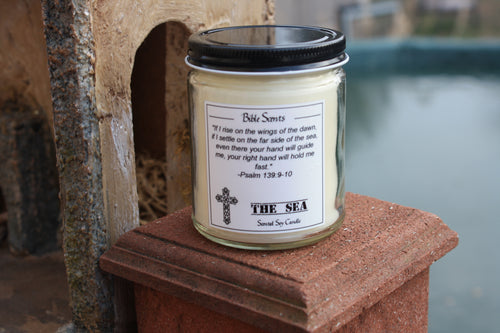 Bible Scents- The Sea Scented Religious Candle with Bible Verse - Fundaroma Candle