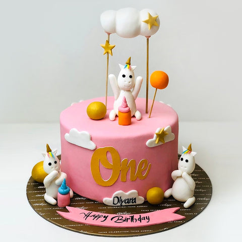 Unicorn Pink Theme Cake - Eggless