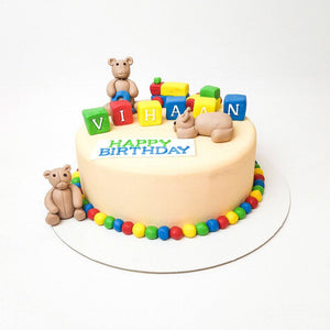 Bear Blocks Cake - Eggless