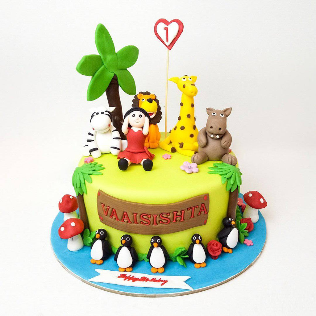 Girl & Her Animal Friends Cake - Eggless