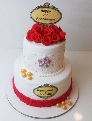 Anniversary Floral Theme Cake - Eggless
