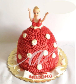 Red Barbie Cake - Eggless