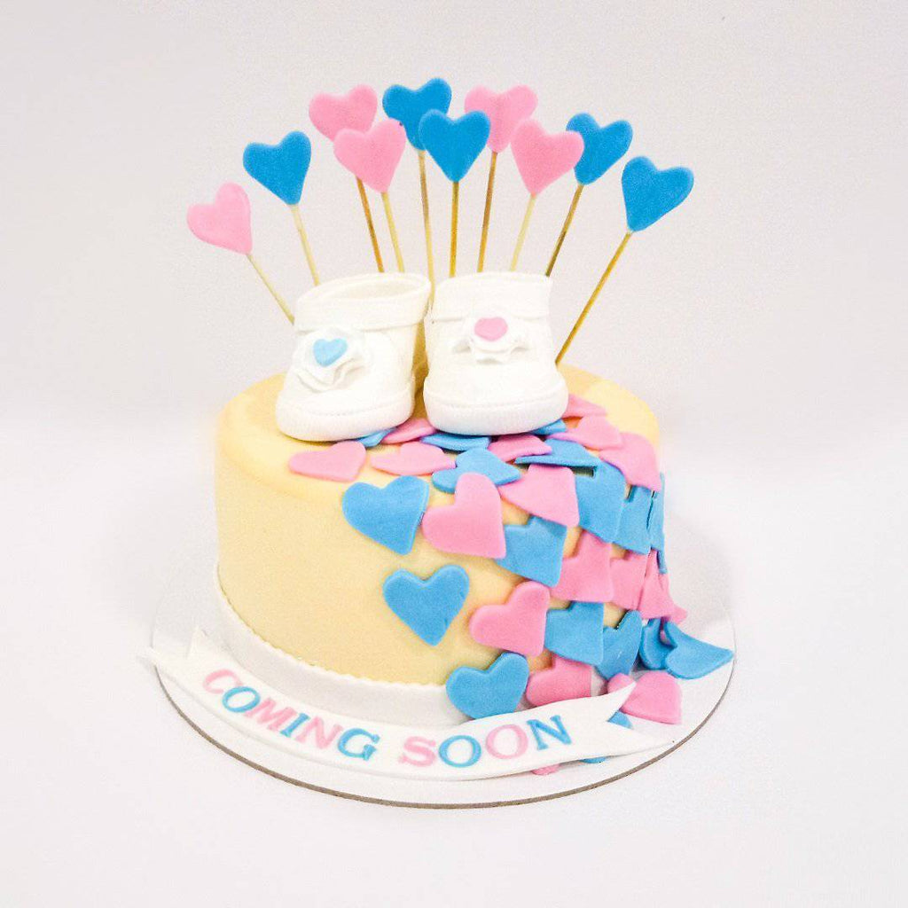 Little Hearts Baby Shower Cake - Eggless
