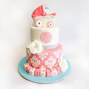 Baby Strolly Baby Shower Cake - Eggless