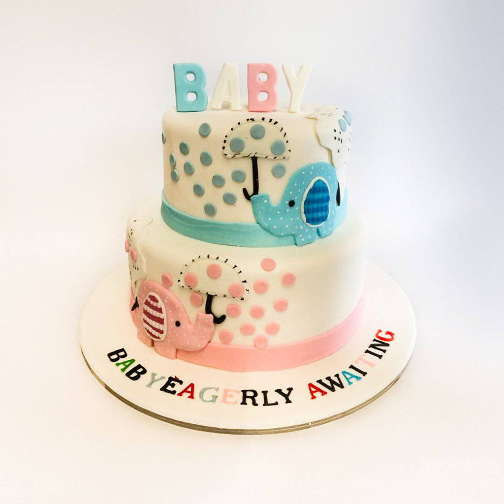 Baby Elephant Baby Shower Cake - Eggless
