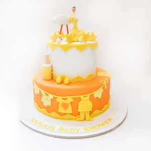 Baby Clothes Baby Shower Cake - Eggless