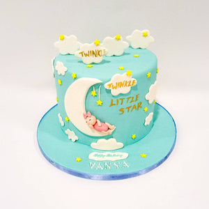 Cloud & Stars Baby Shower Cake - Eggless