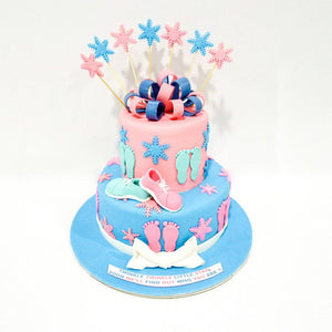 Colorful Stars Baby Shower Cake - Eggless
