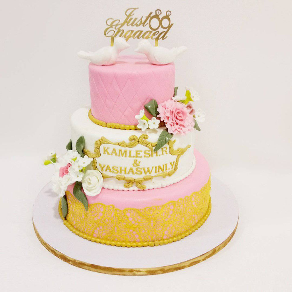 Pink Rose Engagement Cake - Eggless