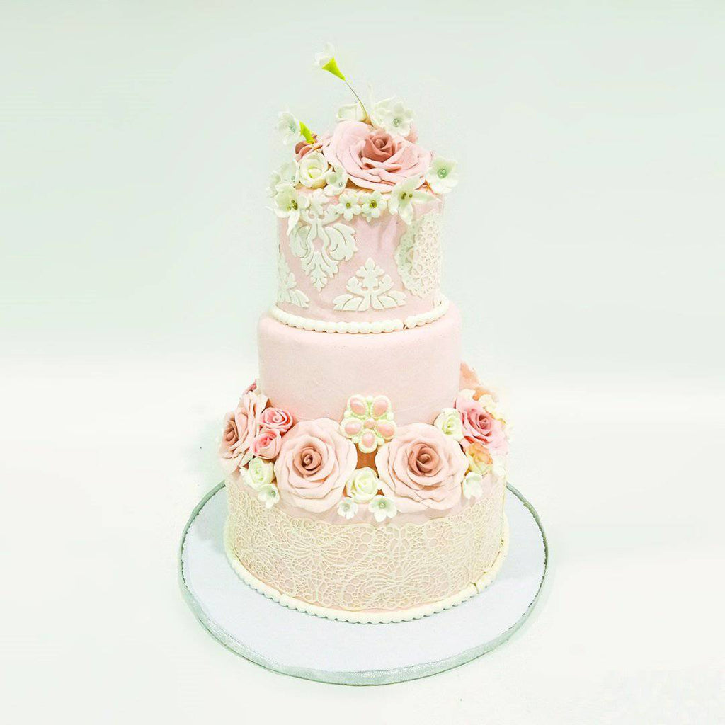 Three Tier Pink Rose Cake - Eggless