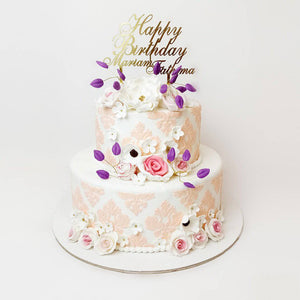 Rose Decorated Birthday Cake - Eggless