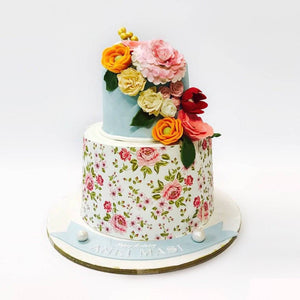 Floral Birthday Cake - Eggless