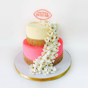 Cream & Pink Floral Cake - Eggless
