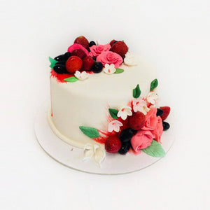 Red & White Rose Cake - Eggless