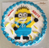 Minion Cream Cake - Eggless