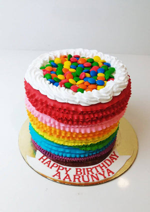 Rainbow Colours Gems Theme Cake - Eggless