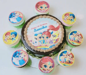 Shimmer And Shine Theme Cake And Cup Cake
