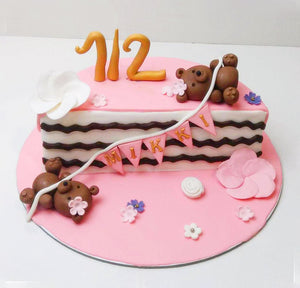 Pink Half Birthday Cake - Eggless