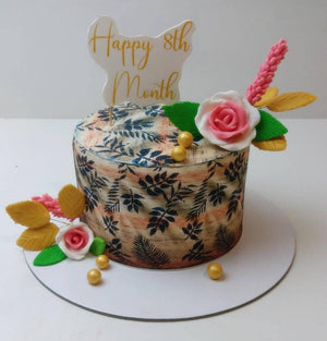 Hand Made Floral Cake - Eggless