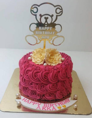Happy Teddy Floral Cake - Eggless