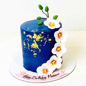 Blue Floral Cake - Eggless