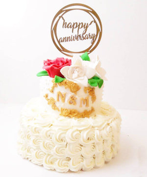 Floral Anniversary Cake - Eggless