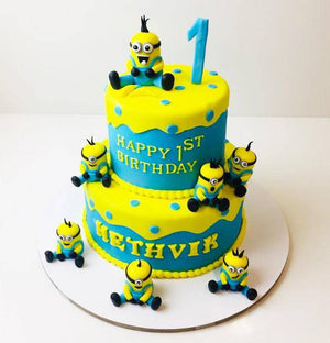 Minion 2 Celebration Cake - Eggless