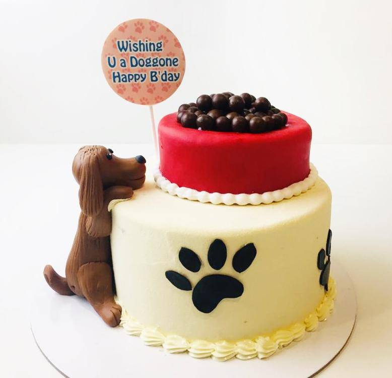 Cute Dog Cake - Eggless