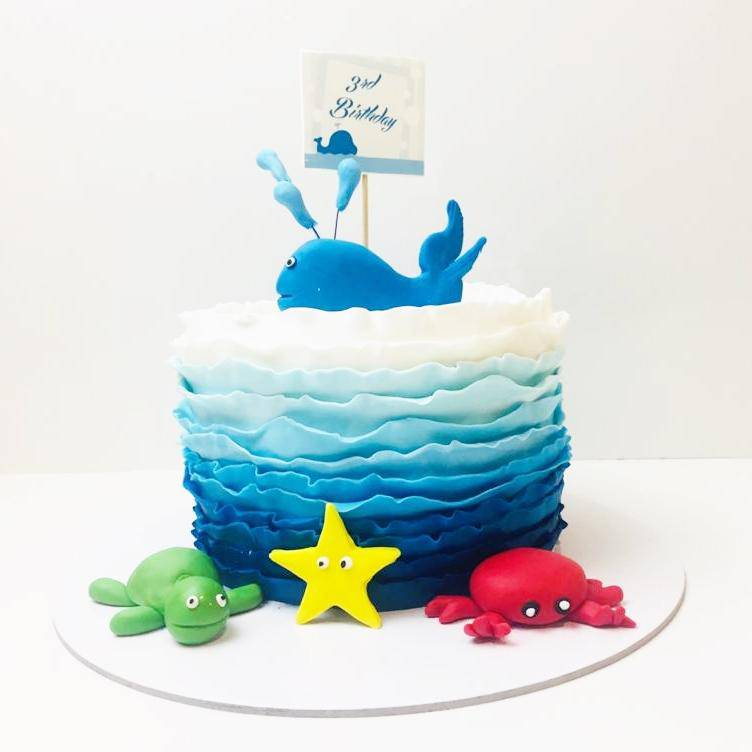 Ocean Celebration Cake - Eggless