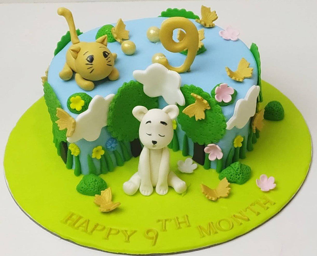 Happy 9 Month Theme Cake - Eggless