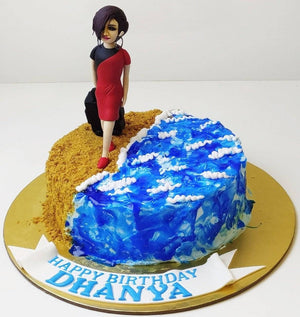 Beach Walking Theme Cake - Eggless