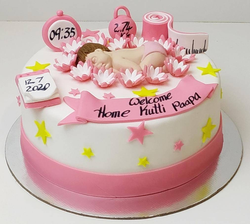 Baby Shower 1st Birthday Cake - Eggless